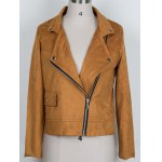 Chic Lapel Collar Long Sleeve Suede Zipper Up Jacket For Women for sale