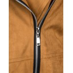 Chic Lapel Collar Long Sleeve Suede Zipper Up Jacket For Women photo
