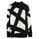 Turtleneck Geometric Pattern Sweater for sale