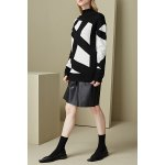 Turtleneck Geometric Pattern Sweater deal