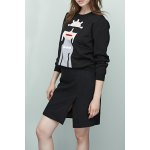 Round Neck Jacquard Knit Sweater in Black deal