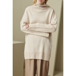 Camel Cowl Neck Drop Shoulder Sleeve Sweater