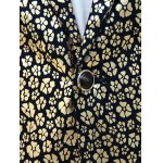 best Floral Hot Stamping Printing Lapel Long Sleeve Blazer For Men