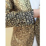 Floral Hot Stamping Printing Lapel Long Sleeve Blazer For Men photo