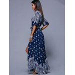 Bohemian Printed Flutter Sleeve Crossover Women's Maxi Dress photo