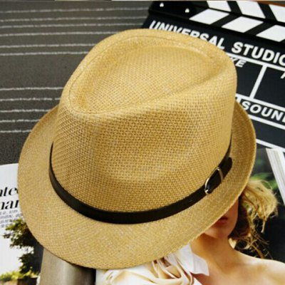 Fashion Belt Decorated Solid Color Sun Hat For Men and Women