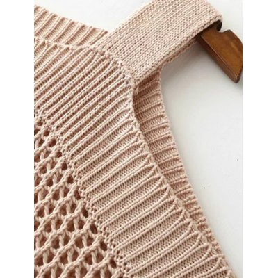 Cold Shoulder Openwork Pure Color Sweater