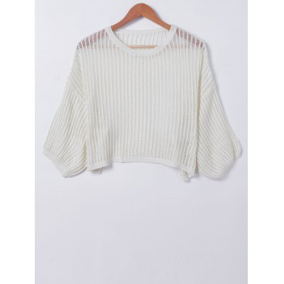 Casual Pure ColorHollowOut Knitwear
