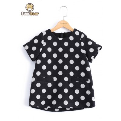 Stylish Polka Dot Loose-Fitting Wool Dress For Girl