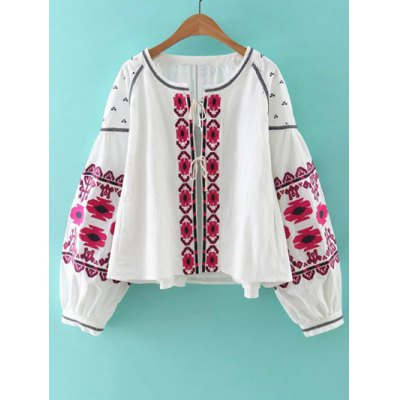 Women's Bohemian Style Embroidery Lace Up Jacket