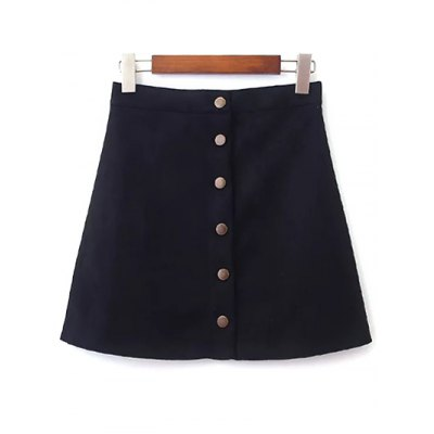 Single-Breasted Faux Suede Skirt