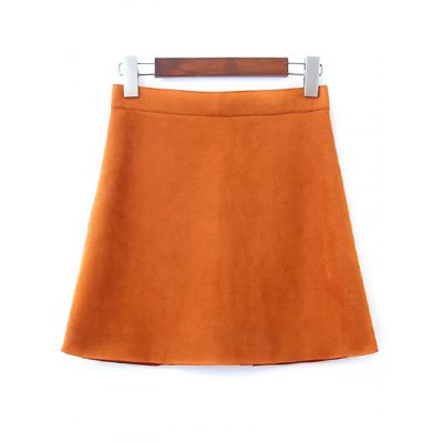 Fashion Single-Breasted Faux Suede Skirt For Women