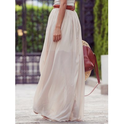 Stylish Solid Color Maxi Skirt For Women