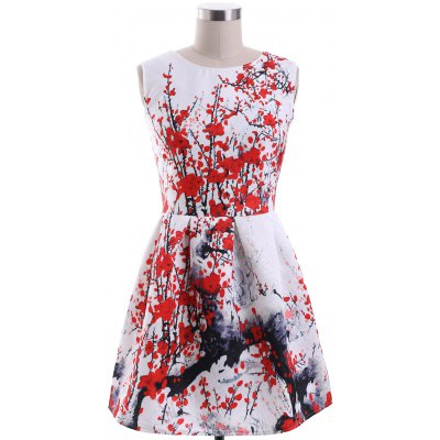 Round Neck Sleeveless Plum Blossom Print Dress