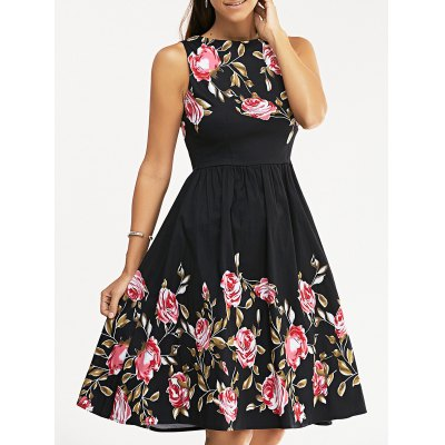 Retro Rose Floral Party Skater Dress