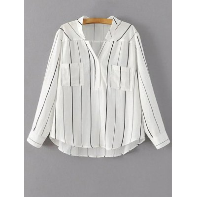 V Neck Full Sleeve Striped Blouse
