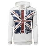 M Word Print Drawstring-hood Long Sleeve Pullover Hoodie For Men