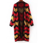 Fashionable Hit Color Zig-Zag Cardigan