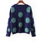 cheap Cute Polka Dot Color Block Sweater