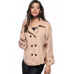 Trendy Pure Color Double-Breasted Loose Trench Coat deal
