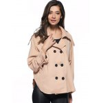 cheap Trendy Pure Color Double-Breasted Loose Trench Coat