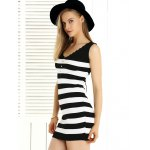 Stylish Wavy Cut Back Lace Up Dress For Women deal