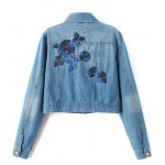 cheap Embroidered Back Jean Jacket