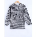 cheap Cute Hooded Long Sleeve Checked Back Bag Pocket Coat