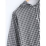 Cute Hooded Long Sleeve Checked Back Bag Pocket Coat for sale