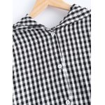 Cute Hooded Long Sleeve Checked Back Bag Pocket Coat deal