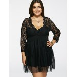 cheap Plunging Neck Lace Splicing See-Through Plus Size Dress