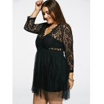 Plunging Neck Lace Splicing See-Through Plus Size Dress for sale