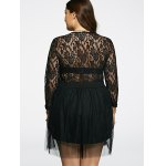 best Plunging Neck Lace Splicing See-Through Plus Size Dress