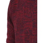 Ribbed Plaid Pattern Crew Neck Long Sleeve Sweater For Men for sale