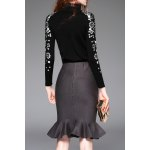 cheap Sequined Long Sleeve Sweater and Fishtail Skirt
