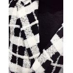 Trendy Lapel Collar Black and White Checked Coat For Men for sale
