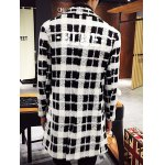 Trendy Lapel Collar Black and White Checked Coat For Men deal