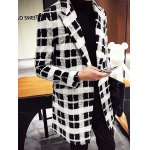 cheap Trendy Lapel Collar Black and White Checked Coat For Men