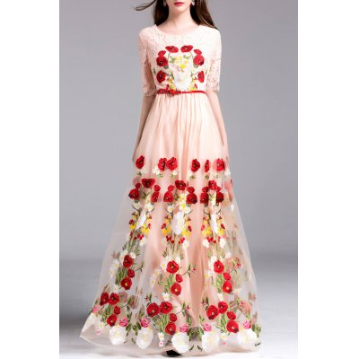 Floral Embroidery Tulle Dress