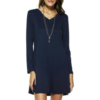 Long Sleeve Solid Color Flare Dress
