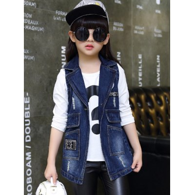 Stylish Pocket Design Letter Print Ripped Denim Waistcoat For Girl