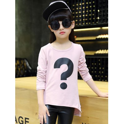 High Low Punctuation Print T-Shirt For Girl