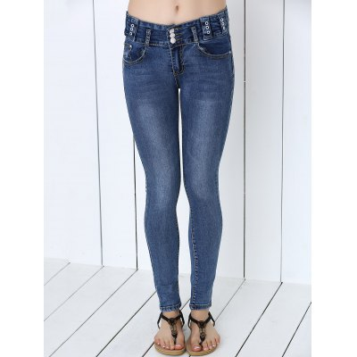 Button Design Mid-Waist Skinny Jeans