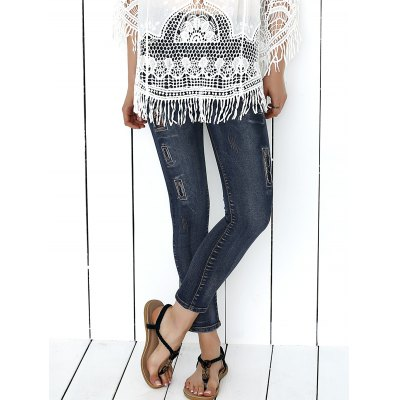 Women's Icons Embellished Dark Color Jeans