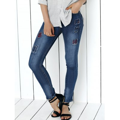 Women's Mid Waist Icons Embellished Spliced Jeans