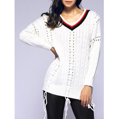 Crochet Lace Up Loose Sweater