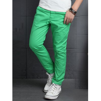 Slimming Elastic Waist Solid Color Pants