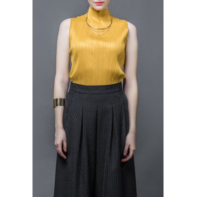 Stand Up Collar Ruched Tank Top