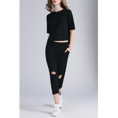 Asymmetric Knitted Tee and Ripped Capri Pants