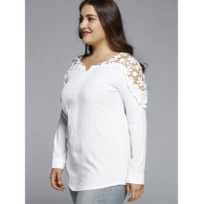 Oversized Fashion Pure Color Lace Hollow Out  Blouse